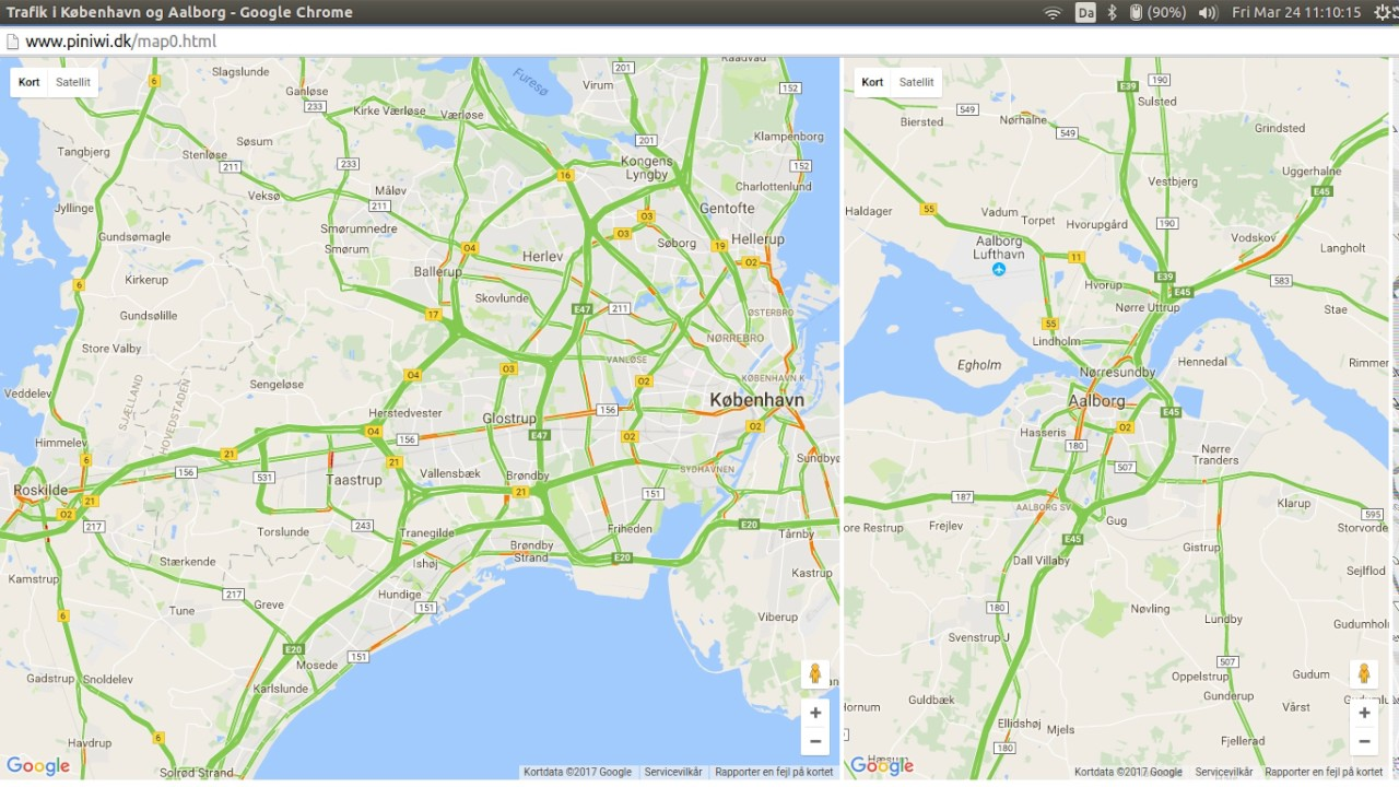 Google Maps traffic time lapse of Copenhagen and Aalborg YouTube