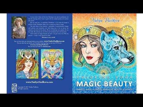 Magic beauty • coloring book  for adults. Animals, mandalas, flowers, birds, beautiful girls.