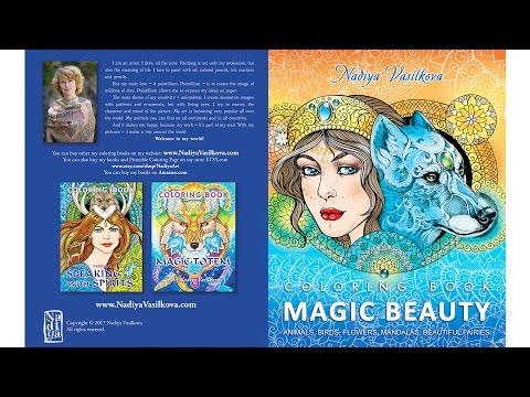 Magic beauty • coloring book  for adults. Animals, mandalas, flowers, birds, beautiful girls.