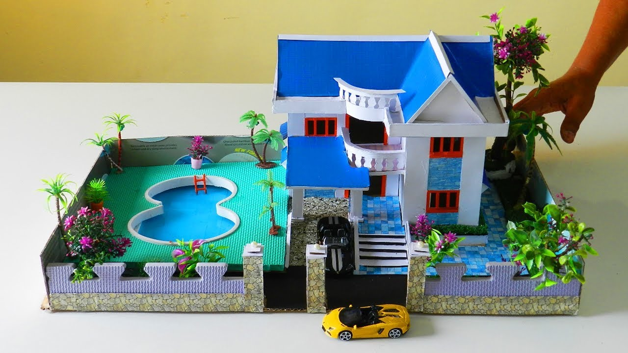 Diy Miniature Dollhouse With Huge Swimming Pool And Garden Easy Cardboard Project Youtube