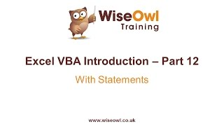 Excel VBA Introduction Part 12 - With Statements