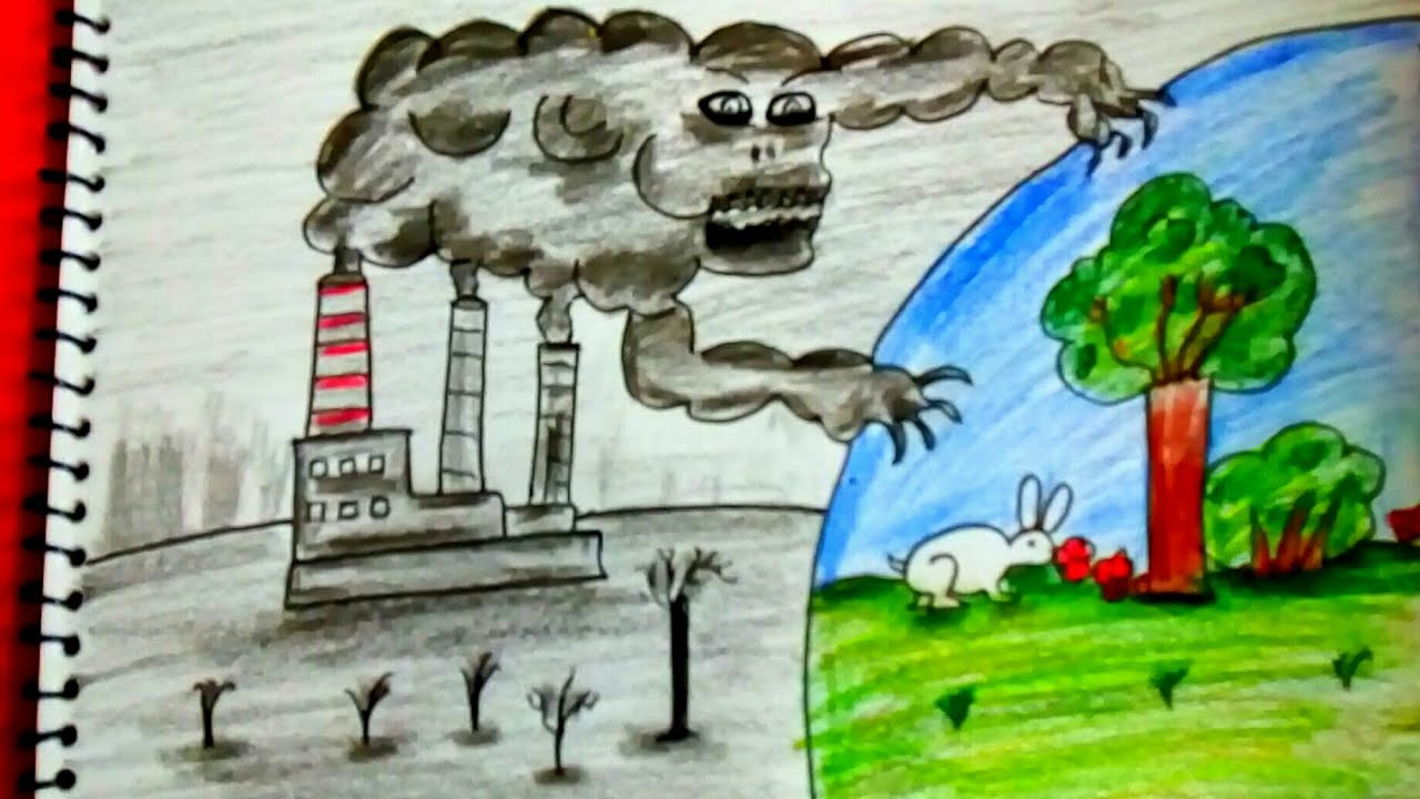 How to draw scenery of environmental pollution save earth save life step by step