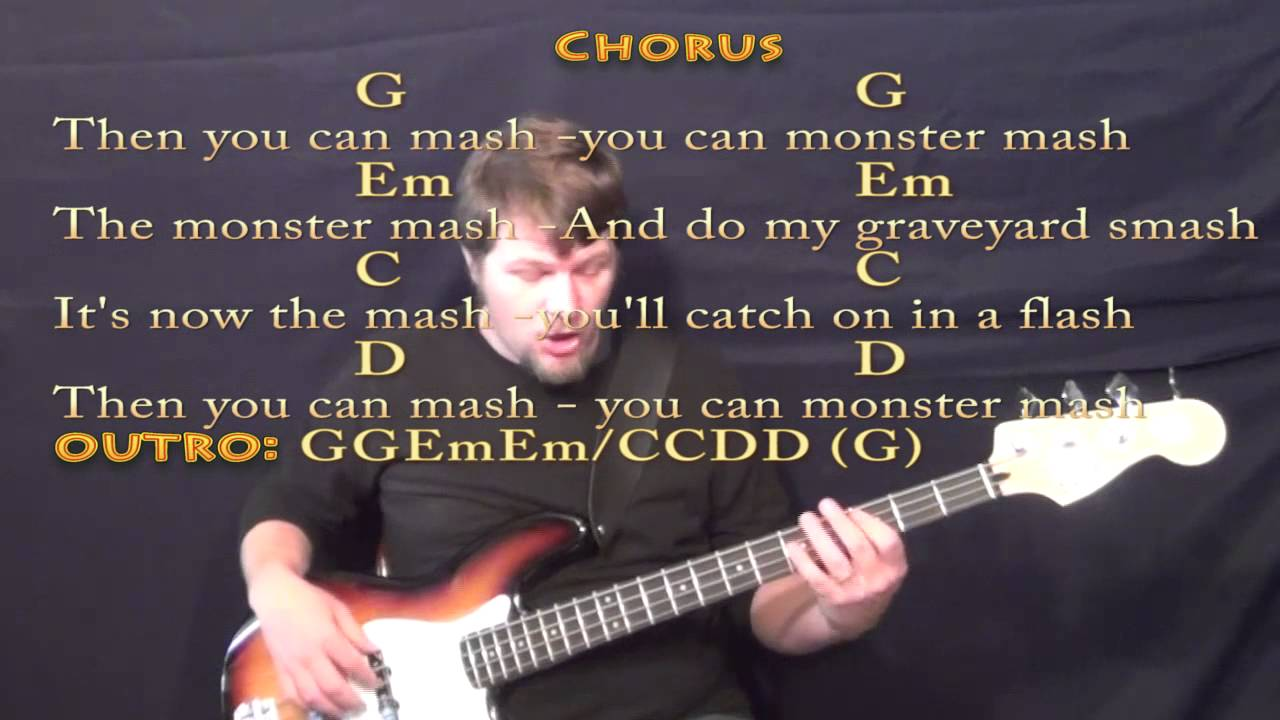 Monster Mash Bass Guitar Cover Lesson With Lyricschords Youtube