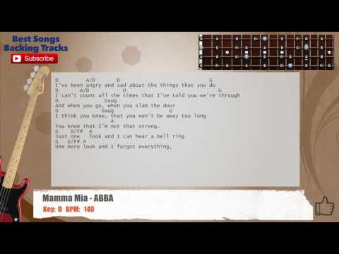 Mamma Mia - ABBA Bass Backing Track with chords and lyrics
