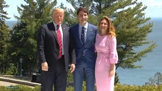G7 Summit 2018 in Quebec Canada. President Trump participates in the official welcome of the G7 Sum