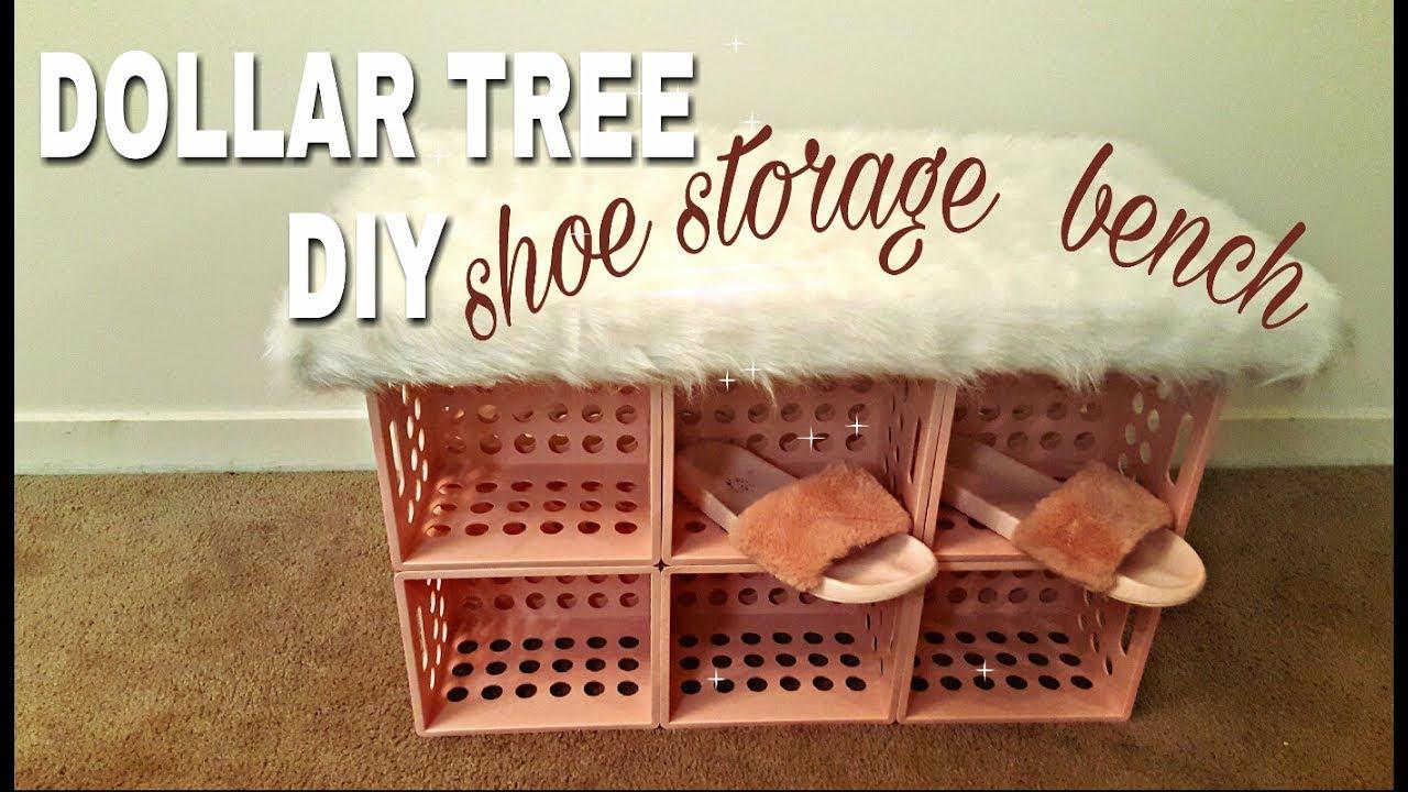 Dollar Tree Diy Shoe Storage Faux Fur Bench🍥💐🐩 Youtube