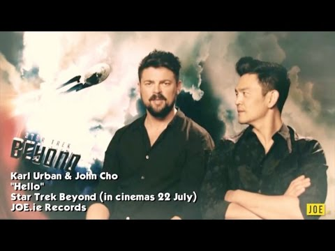 Karl Urban & John Cho sing 'Hello' & compare chest hair & eyebrows
