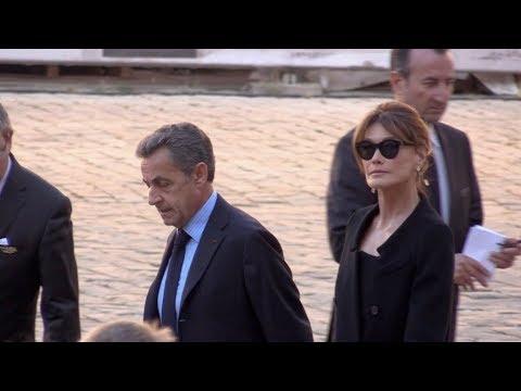 Francois Hollande, Nicolas Sarkozy and wife, Emmanuel Macron aux hommages nationale de Charles Aznav