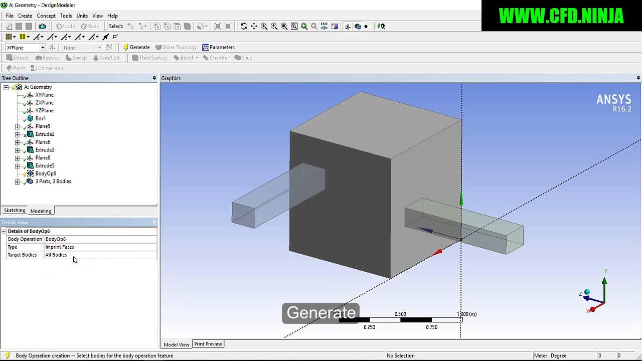 ANSYS DESIGN MODELER - Imprint Face - Basic Tutorial 11