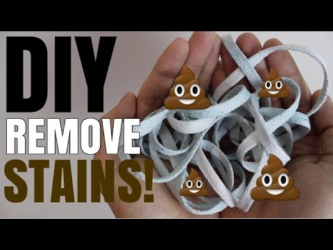 HOW TO: WHITEN SHOE LACES/REMOVE STAINS! (NIKES JORDANS ADIDAS ETC)
