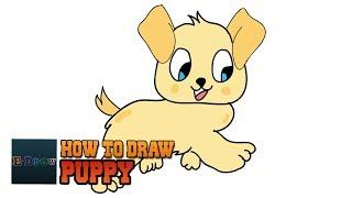 Wie zieht man Welpen Einfach Schritt für Schritt für Kinder | Zeichentrick Hund Zeichnen-Tutorial