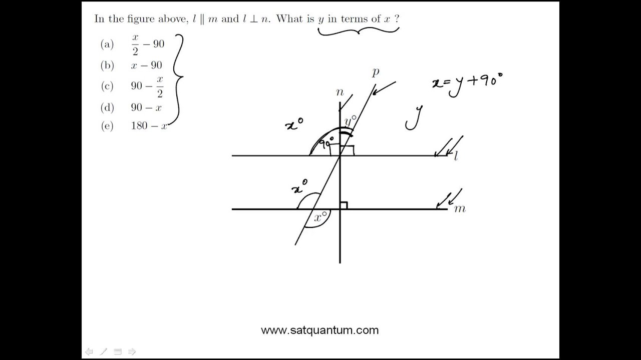 Angles And Parallel Lines Sat Math Practice Question