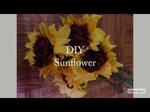 DIY flower using crepe paper  Sunflower
