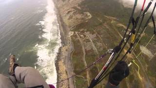 Touching fog base. Paragliding at The Dumps - Mussel Rock, Pacifica