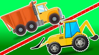 Dump truck Vs Backhoe loader | Cars Race Videos