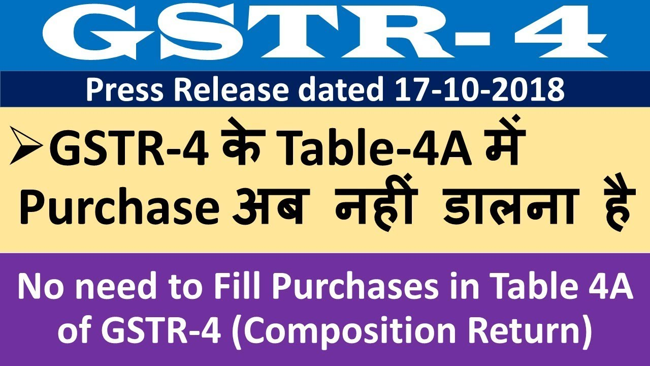 No need to Fill Purchases in Table 4A of GSTR-4 (Composition Return), How  to file GSTR 4 return