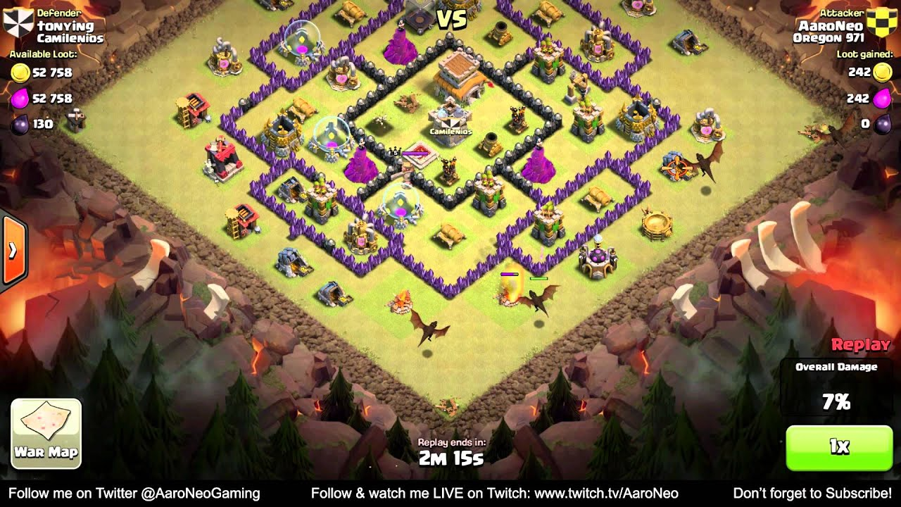 Best town hall level 8 th8 clan wars attack strategy part 1