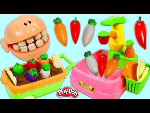 Feeding Mr. Play Doh Head Toy Vegetables with Kitchen Sink Playset!