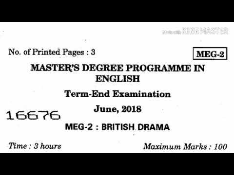 Latest Question paper of British Drama,MEG - 2, JUNE 2018