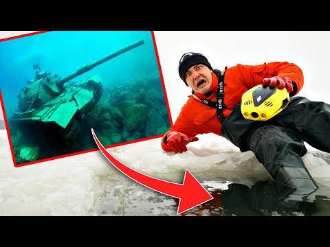 Мы погрузили подводный дрон под лёд и увидели эти жуткие кадры, где обнаружили танк