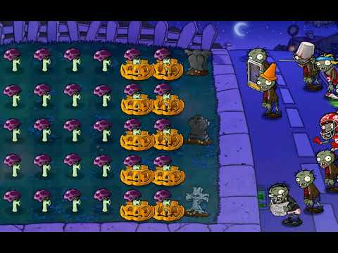 ONLY Scaredy Shroom vs Last Stand Night MODE   Plants vs Zombies