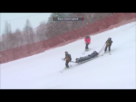Lindsey Vonn Crashes, Carried Off Course in Patrol Toboggan