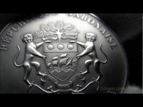 2012 Gabon Elephant 1000 Francs - African silver Ounces series - Antique finish