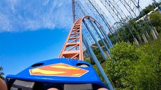 Riding the Superman Roller Coaster at Six Flags America! Multi-Angle Onride POV! 4K 60FPS