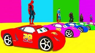 LEARN COLORS McQueen for Children and Spiderman - Cars 3D Bus Superheroes for Kids
