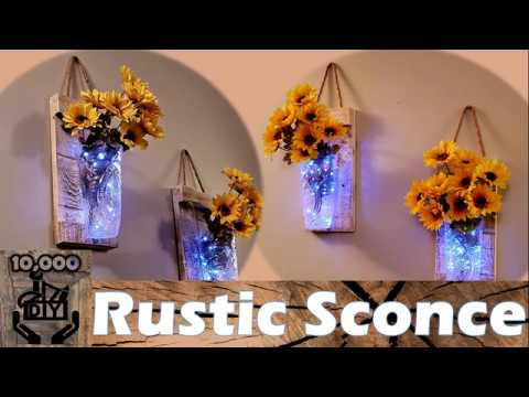 How to make a RUSTIC SCONCE DIY | Cost $5 | Dry Brushing Paint | Wall Sconce | Pallet wood lantern