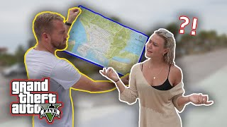 Holding a GTA V Map and Asking People for Directions