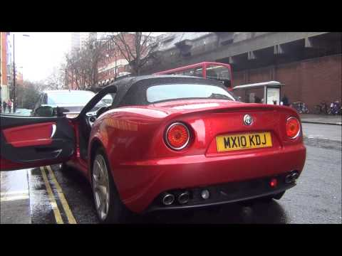 Gorgeous Alfa Romeo 8C spider in London-start up, scenes and Acceleration!