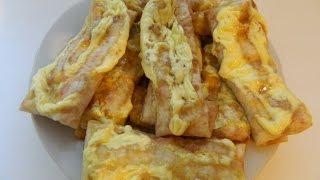 Блины из лаваша с сыром и копченой колбасой, запеченные в духовке
