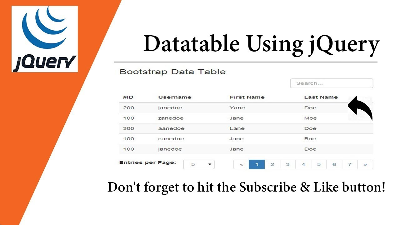 Datatable Plugin Using jQuery 💡 Very Simple Way 💡