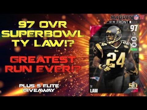 SUPERBOWL TY LAW!? Greatest Run EVER!? 5 Elite Giveaway!  Madden Ultimate Team 16
