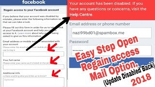 Disabled Back Again Facebook Accounts Regain Access Link | Open Mail Box & Request Secrets IP Tricks
