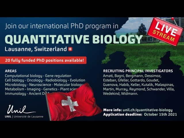 20 Fully funded Ph.D. studentships at the University of Lausanne, Switzerland