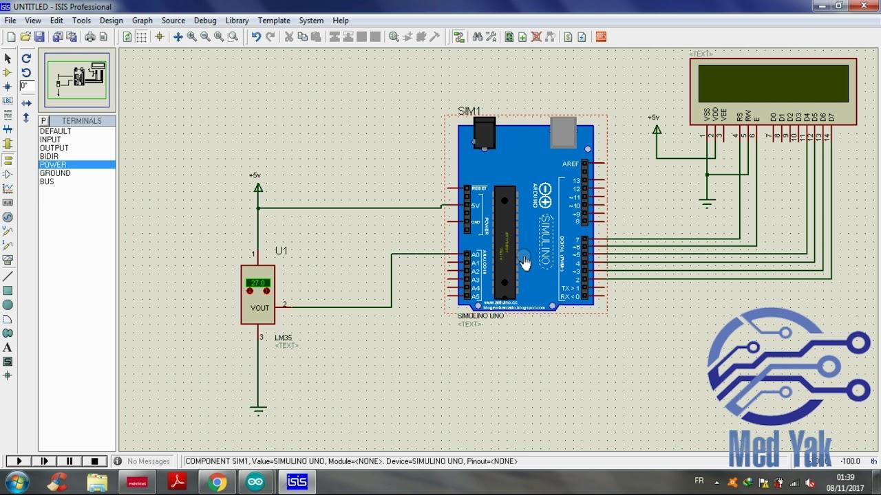 proteus isis utilisation du capteur de la temp rature lm35 par arduino youtube. Black Bedroom Furniture Sets. Home Design Ideas