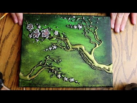 How To Paint 3d Tree Blossoms With Hot Glue Texture Speed