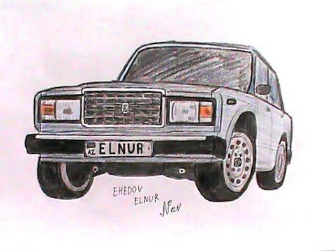 VAZ-2107 masin sekli nece cekilir(Ehedov Elnur)Как нарисовать ВАЗ-2107_Рисуем семерку поэтапно