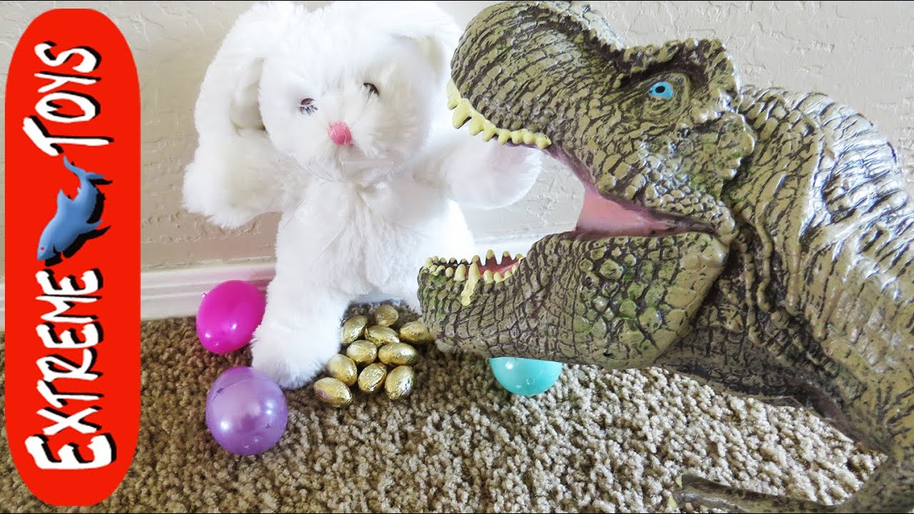 Toy T-Rex Scares Easter Bunny and Makes Him Poop Chocolate Eggs ...