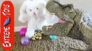 Toy T-Rex Scares Easter Bunny and Makes Him Poop Chocolate Eggs.