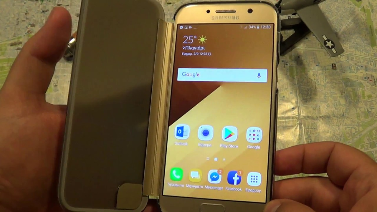 samsung galaxy a5 2017 clear view cover gold youtube. Black Bedroom Furniture Sets. Home Design Ideas