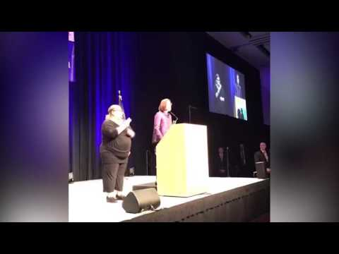 Governor Kate Brown speaks at Democratic Party of Oregon