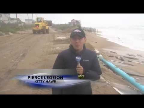 10.5.15 Heavy surf washes out Highway 12 in Kitty Hawk, NC