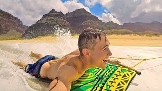 TOWING BODYSURFER 40MPH BEACH STUNT!! (hawaii trip)