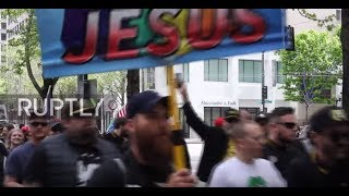 USA: Patriot Response faces off with Antifa on Seattle's May Day