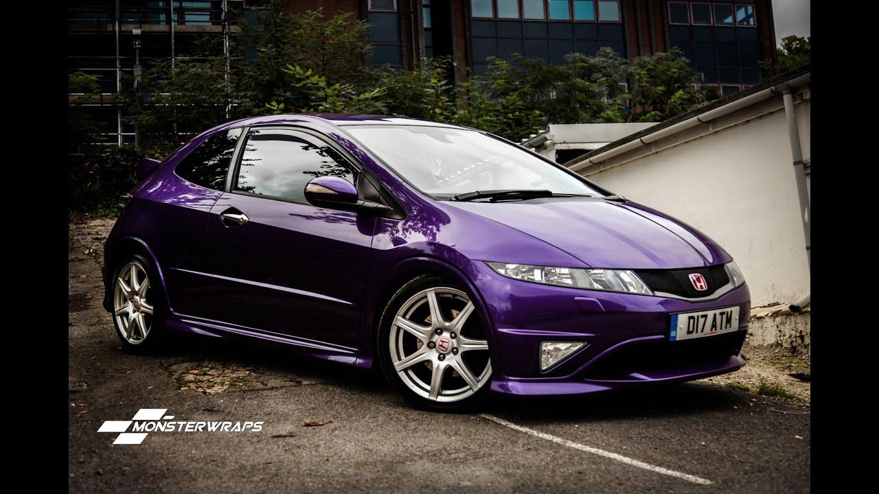 Colour car metallic - Monsterwraps Honda Civic Type R Gloss Metallic Purple Car Wrap Uk Youtube