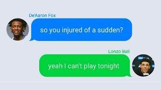 Lonzo Ball Texting De'Aaron Fox After Injury