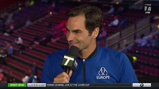 Team Europe's Roger Federer - 2018 Laver Cup Tennis Channel Desk Visit